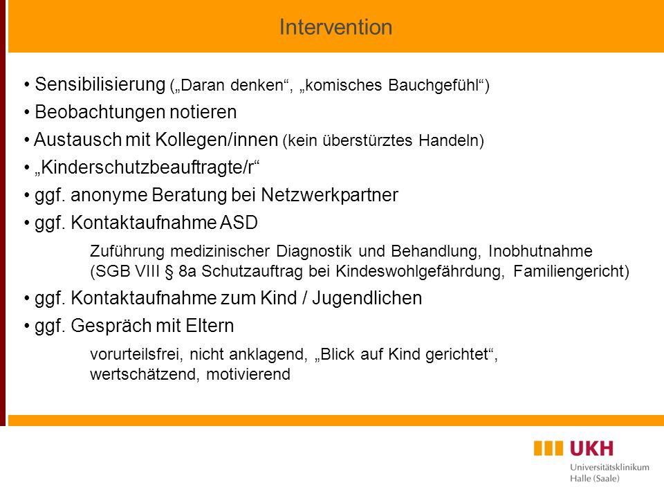 Intervention Sensibilisierung (Daran denken, komisches Bauchgefühl) Beobachtungen notieren Austausch mit Kollegen/innen (kein überstürztes Handeln) Kinderschutzbeauftragte/r ggf.