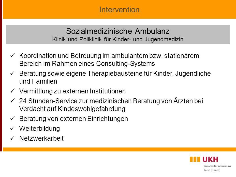 Intervention Sozialmedizinische Ambulanz Klinik und Poliklinik für Kinder- und Jugendmedizin Koordination und Betreuung im ambulantem bzw.