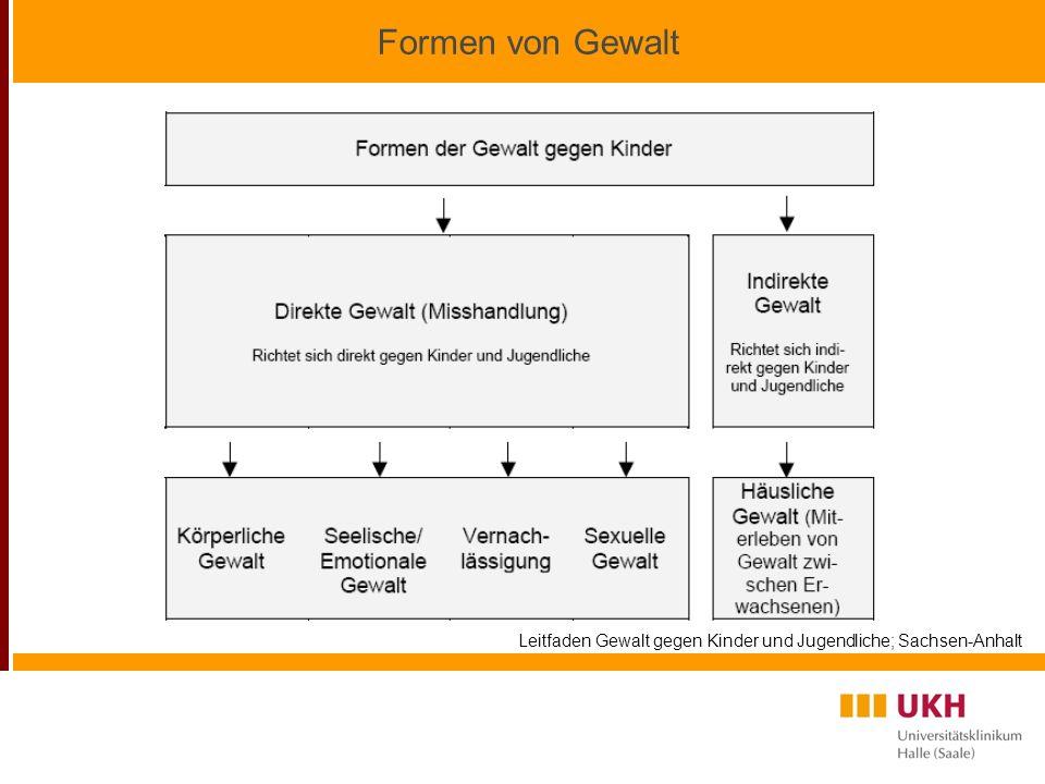 Formen von Gewalt Leitfaden Gewalt gegen Kinder und Jugendliche; Sachsen-Anhalt