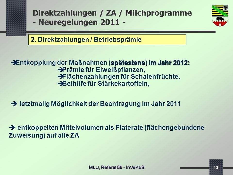 Direktzahlungen / ZA / Milchprogramme - Neuregelungen 2011 - MLU, Referat 56 - InVeKoS13 2. Direktzahlungen / Betriebsprämie letztmalig Möglichkeit de