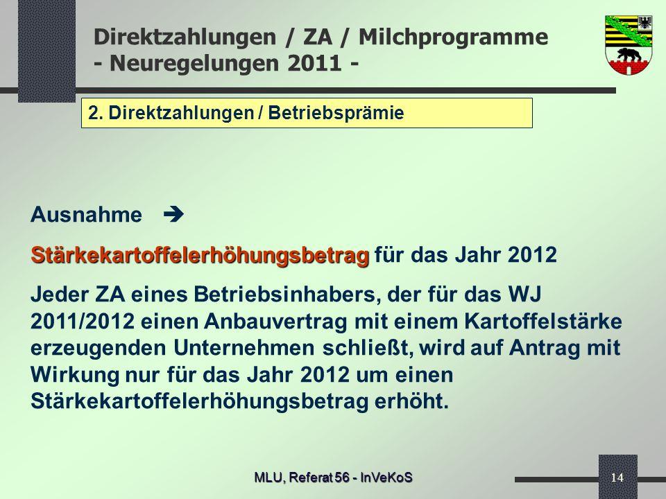 Direktzahlungen / ZA / Milchprogramme - Neuregelungen 2011 - MLU, Referat 56 - InVeKoS14 2. Direktzahlungen / Betriebsprämie Ausnahme Stärkekartoffele