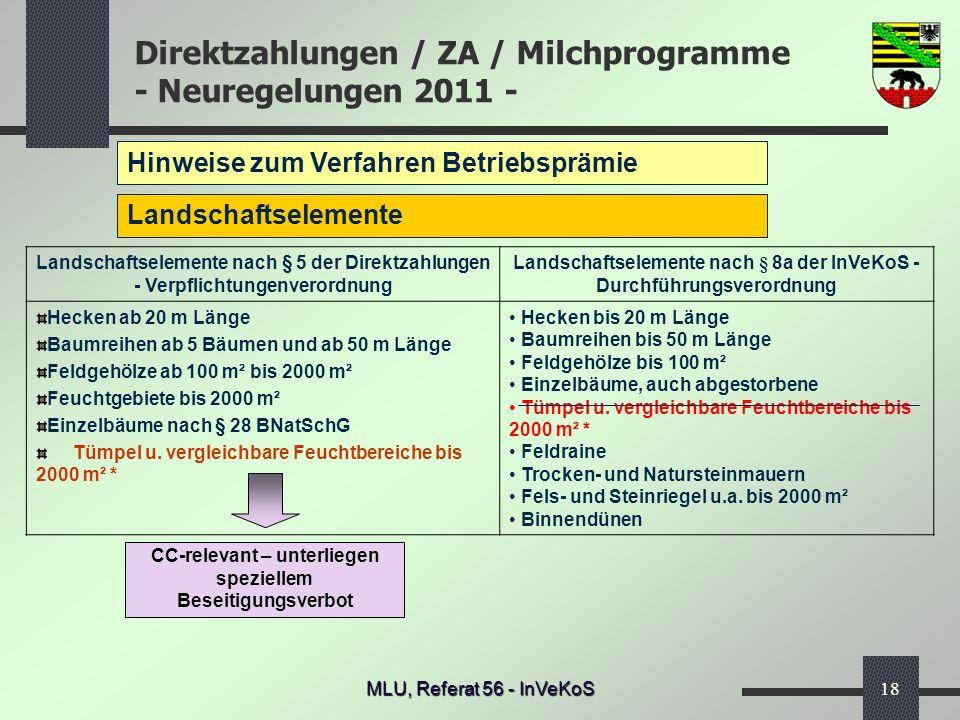 Direktzahlungen / ZA / Milchprogramme - Neuregelungen 2011 - MLU, Referat 56 - InVeKoS18 Hinweise zum Verfahren Betriebsprämie Landschaftselemente Lan