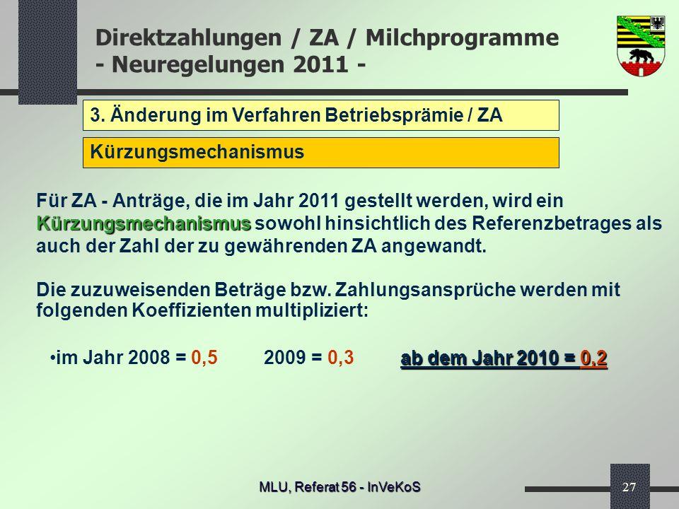 Direktzahlungen / ZA / Milchprogramme - Neuregelungen 2011 - MLU, Referat 56 - InVeKoS27 3. Änderung im Verfahren Betriebsprämie / ZA Kürzungsmechanis