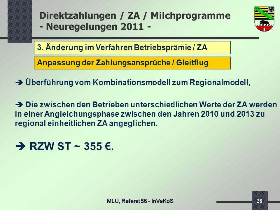 Direktzahlungen / ZA / Milchprogramme - Neuregelungen 2011 - MLU, Referat 56 - InVeKoS28 3. Änderung im Verfahren Betriebsprämie / ZA Anpassung der Za