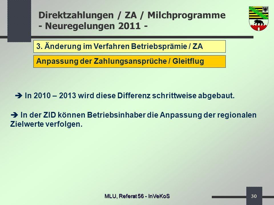 Direktzahlungen / ZA / Milchprogramme - Neuregelungen 2011 - MLU, Referat 56 - InVeKoS30 3. Änderung im Verfahren Betriebsprämie / ZA Anpassung der Za