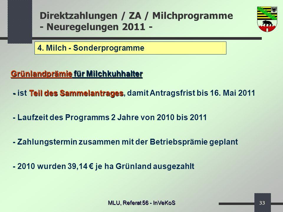 Direktzahlungen / ZA / Milchprogramme - Neuregelungen 2011 - MLU, Referat 56 - InVeKoS33 4. Milch - Sonderprogramme Grünlandprämie für Milchkuhhalter