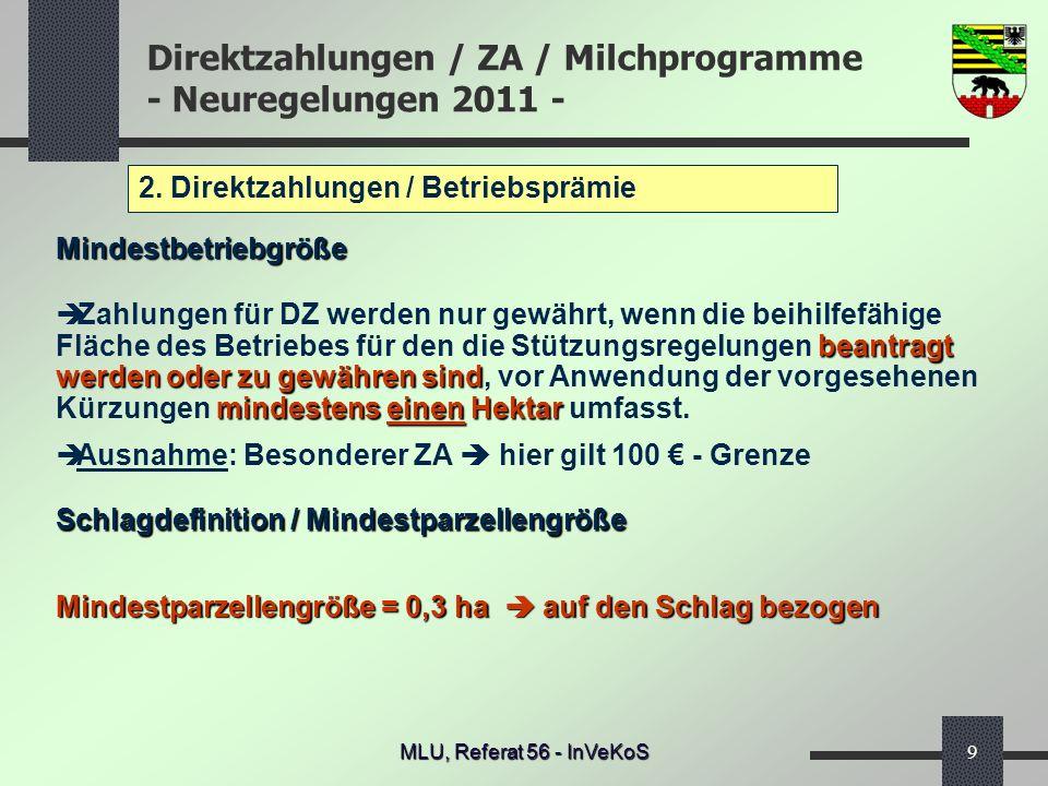 Direktzahlungen / ZA / Milchprogramme - Neuregelungen 2011 - MLU, Referat 56 - InVeKoS9 2. Direktzahlungen / Betriebsprämie Mindestbetriebgröße beantr