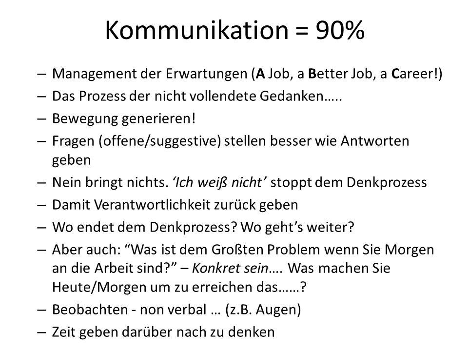 Kommunikation = 90% – Management der Erwartungen (A Job, a Better Job, a Career!) – Das Prozess der nicht vollendete Gedanken…..