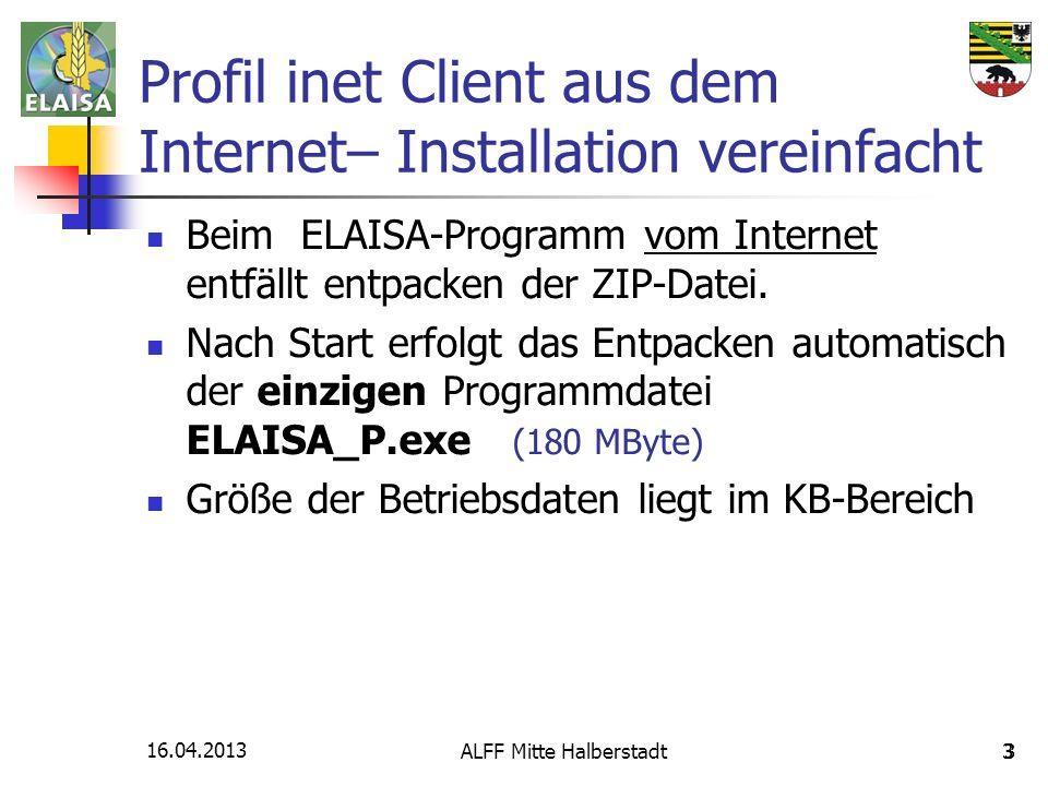 16.04.2013 ALFF Mitte Halberstadt3 3 Profil inet Client aus dem Internet– Installation vereinfacht Beim ELAISA-Programm vom Internet entfällt entpacke