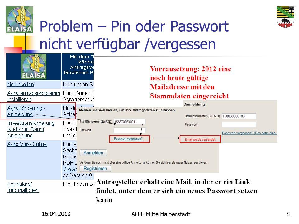 16.04.2013 ALFF Mitte Halberstadt8 Problem – Pin oder Passwort nicht verfügbar /vergessen Vorrausetzung: 2012 eine noch heute gültige Mailadresse mit