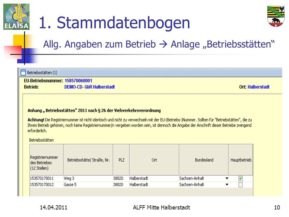 14.04.2011ALFF Mitte Halberstadt10 1. Stammdatenbogen Allg. Angaben zum Betrieb Anlage Betriebsstätten