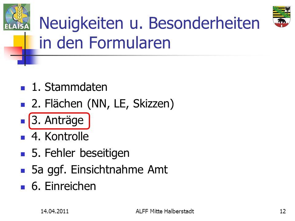 14.04.2011ALFF Mitte Halberstadt12 Neuigkeiten u. Besonderheiten in den Formularen 1. Stammdaten 2. Flächen (NN, LE, Skizzen) 3. Anträge 4. Kontrolle