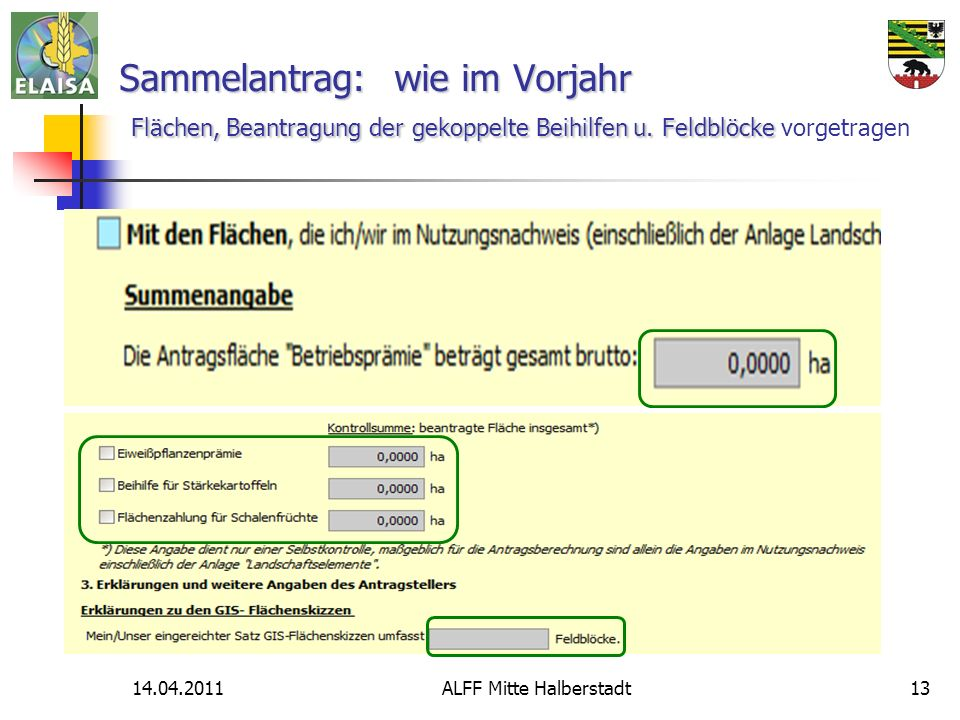 14.04.2011ALFF Mitte Halberstadt13 Sammelantrag: wie im Vorjahr Flächen, Beantragung der gekoppelte Beihilfenu.