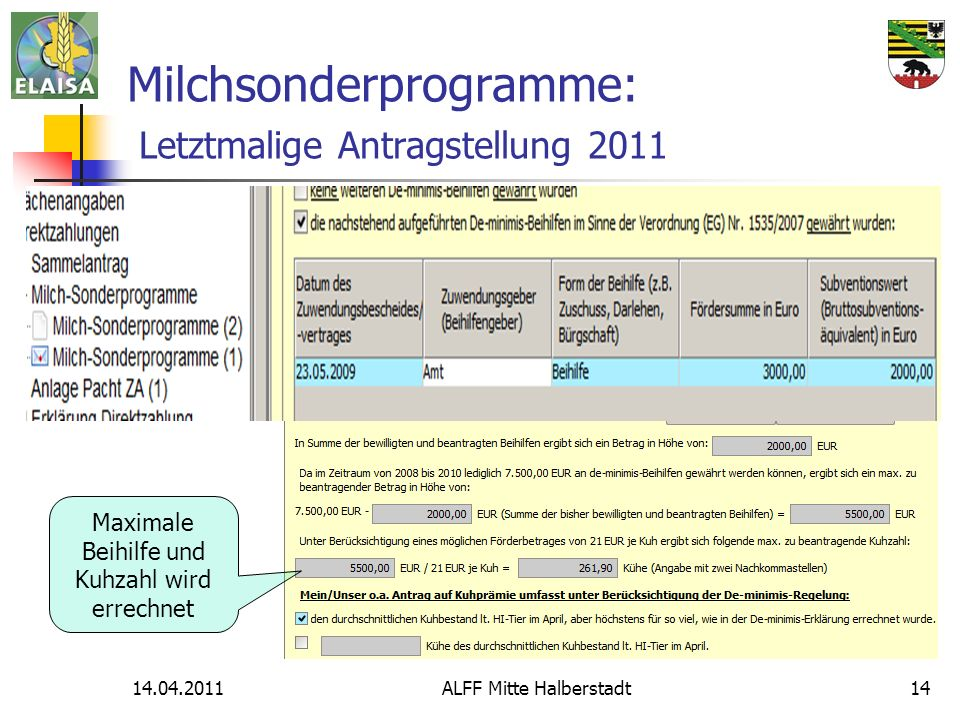 14.04.2011ALFF Mitte Halberstadt14 Milchsonderprogramme: Letztmalige Antragstellung 2011 Maximale Beihilfe und Kuhzahl wird errechnet