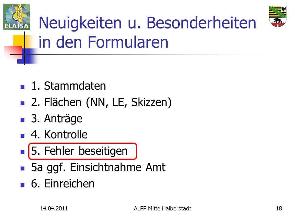 14.04.2011ALFF Mitte Halberstadt18 Neuigkeiten u. Besonderheiten in den Formularen 1. Stammdaten 2. Flächen (NN, LE, Skizzen) 3. Anträge 4. Kontrolle