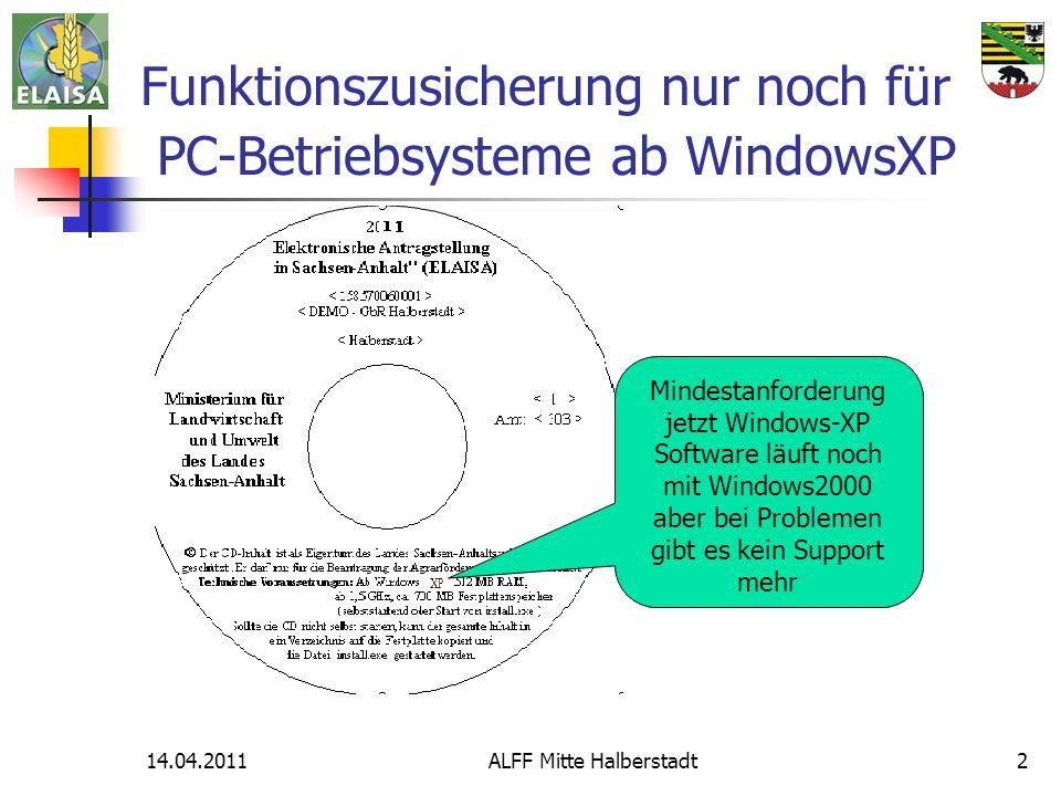 14.04.2011ALFF Mitte Halberstadt2 Funktionszusicherung nur noch für PC-Betriebsysteme ab WindowsXP Mindestanforderung jetzt Windows-XP Software läuft noch mit Windows2000 aber bei Problemen gibt es kein Support mehr