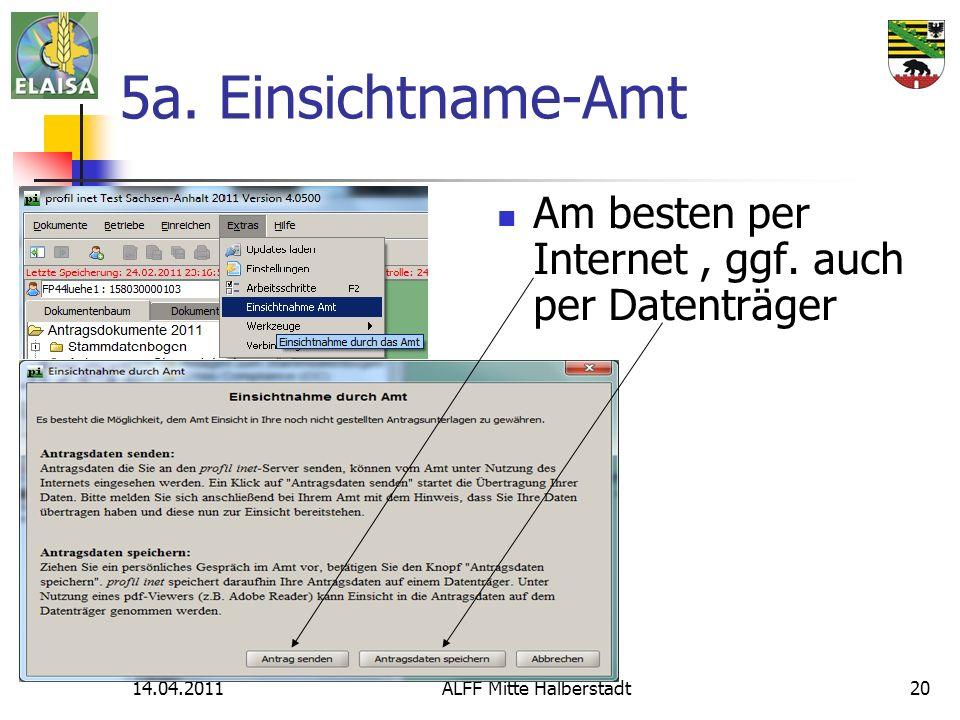 14.04.2011ALFF Mitte Halberstadt20 5a. Einsichtname-Amt Am besten per Internet, ggf. auch per Datenträger