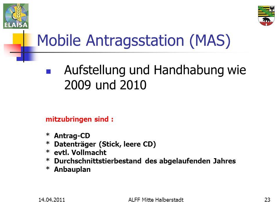14.04.2011ALFF Mitte Halberstadt23 Mobile Antragsstation (MAS) Aufstellung und Handhabung wie 2009 und 2010 mitzubringen sind : * Antrag-CD * Datenträger (Stick, leere CD) * evtl.