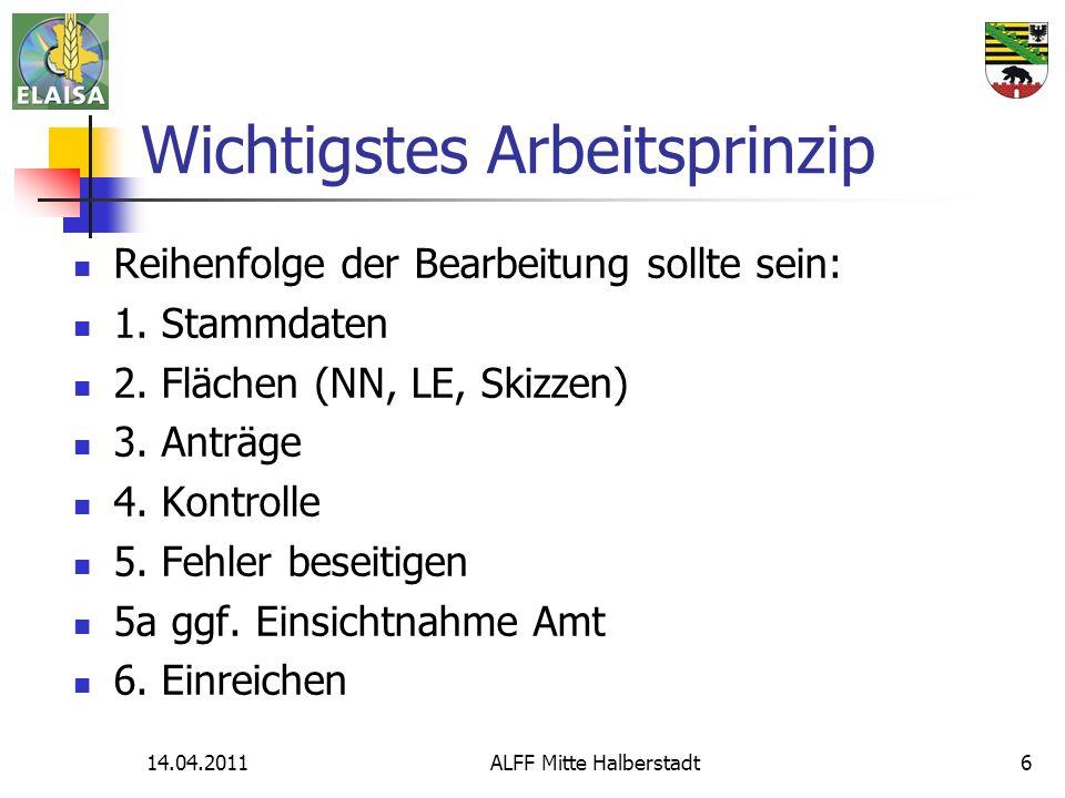 14.04.2011ALFF Mitte Halberstadt6 Wichtigstes Arbeitsprinzip Reihenfolge der Bearbeitung sollte sein: 1.