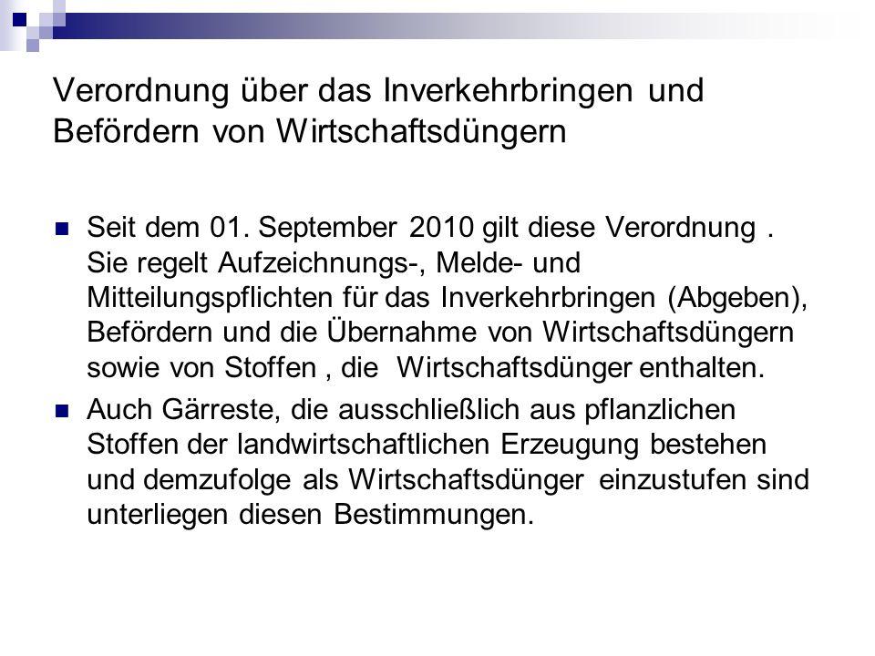 Verordnung über das Inverkehrbringen und Befördern von Wirtschaftsdüngern Seit dem 01.