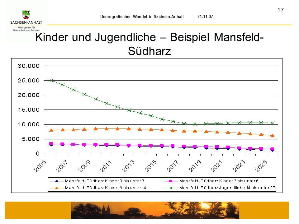 17 Demografischer Wandel in Sachsen-Anhalt 21.11.07 Kinder und Jugendliche – Beispiel Mansfeld- Südharz
