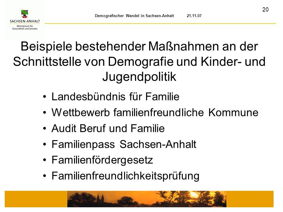 20 Demografischer Wandel in Sachsen-Anhalt 21.11.07 Landesbündnis für Familie Wettbewerb familienfreundliche Kommune Audit Beruf und Familie Familienp