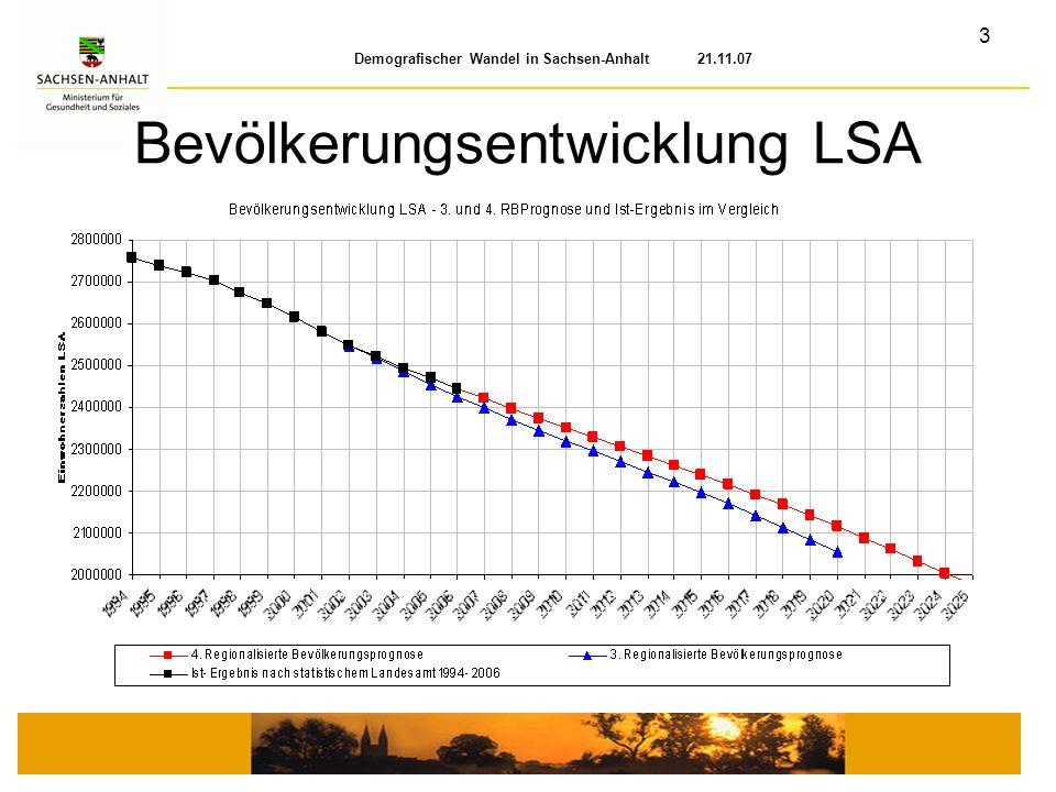 3 Demografischer Wandel in Sachsen-Anhalt 21.11.07 Bevölkerungsentwicklung LSA