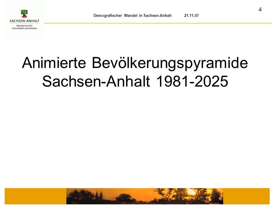 5 Demografischer Wandel in Sachsen-Anhalt 21.11.07 Quelle: Statistisches Landesamt Sachsen-Anhalt, Ministerium für Gesundheit und Soziales des Landes Sachsen-Anhalt