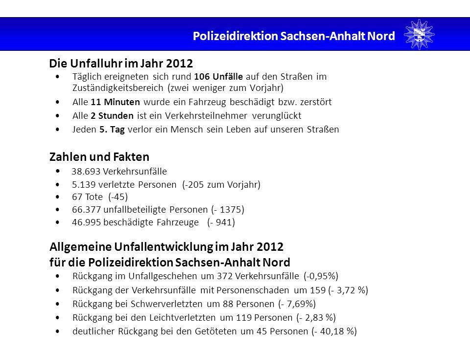 Die Unfalluhr im Jahr 2012 Täglich ereigneten sich rund 106 Unfälle auf den Straßen im Zuständigkeitsbereich (zwei weniger zum Vorjahr) Alle 11 Minute