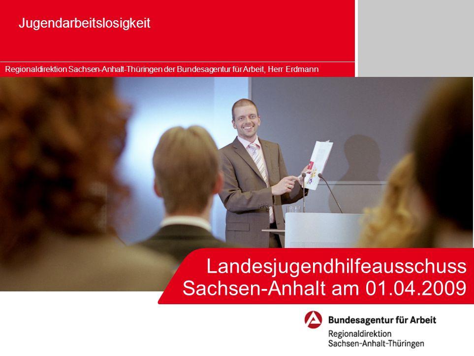Landesjugendhilfeausschuss Sachsen-Anhalt am 01.04.2009 Jugendarbeitslosigkeit Regionaldirektion Sachsen-Anhalt-Thüringen der Bundesagentur für Arbeit