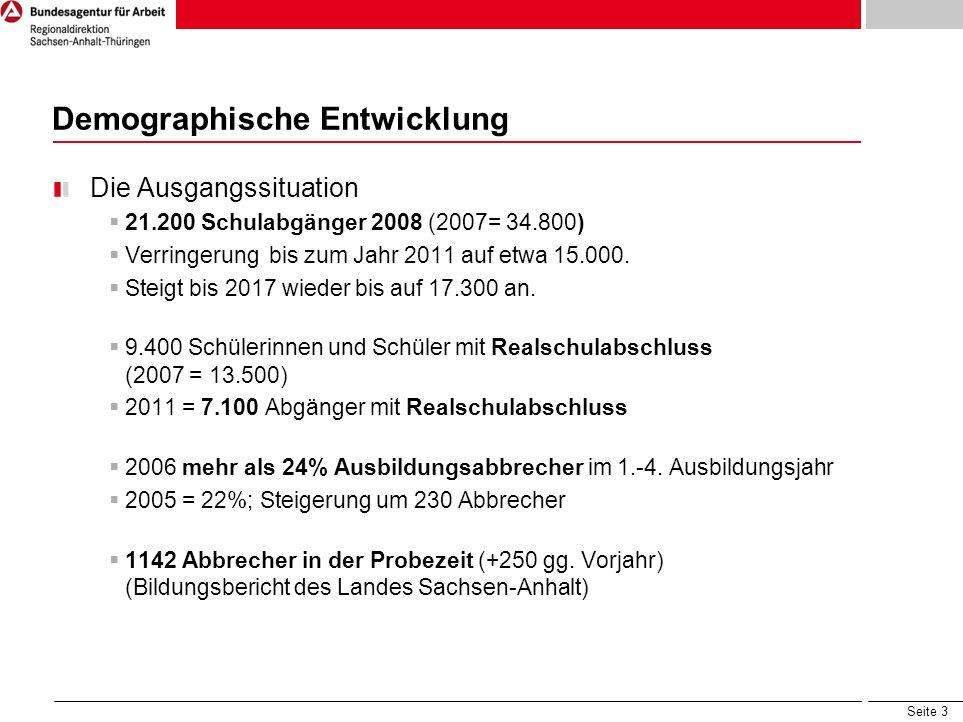 Seite 3 Demographische Entwicklung Die Ausgangssituation 21.200 Schulabgänger 2008 (2007= 34.800) Verringerung bis zum Jahr 2011 auf etwa 15.000. Stei