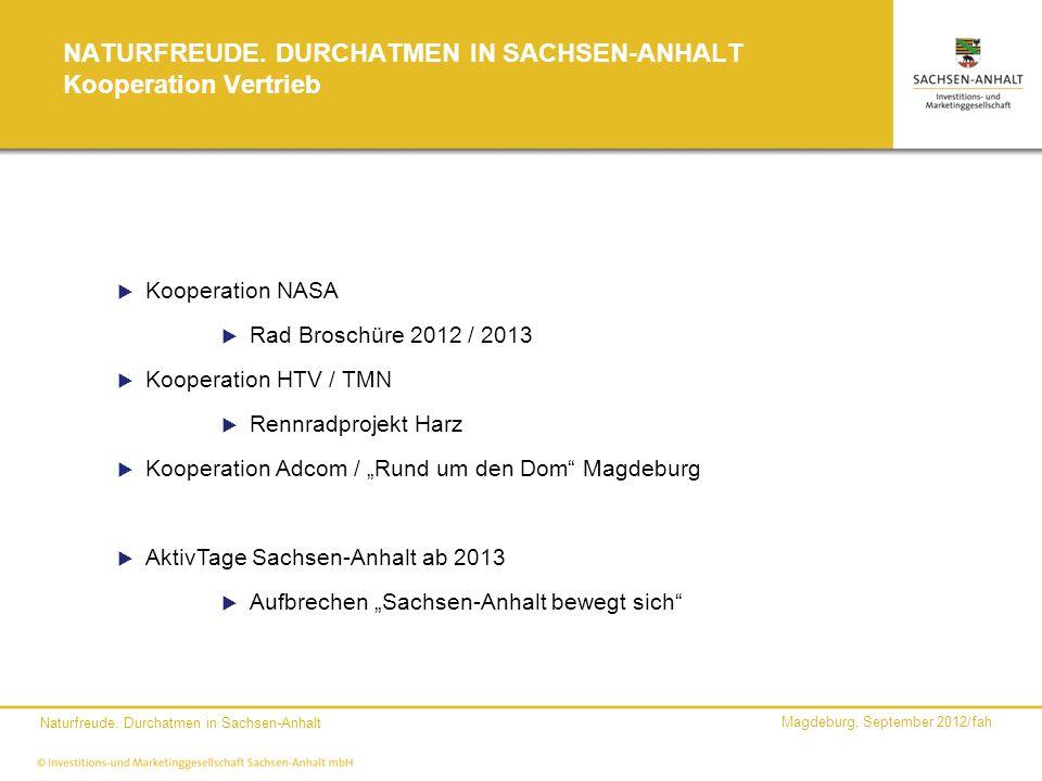 Magdeburg, September 2012/fah Naturfreude. Durchatmen in Sachsen-Anhalt NATURFREUDE. DURCHATMEN IN SACHSEN-ANHALT Kooperation Vertrieb Kooperation NAS