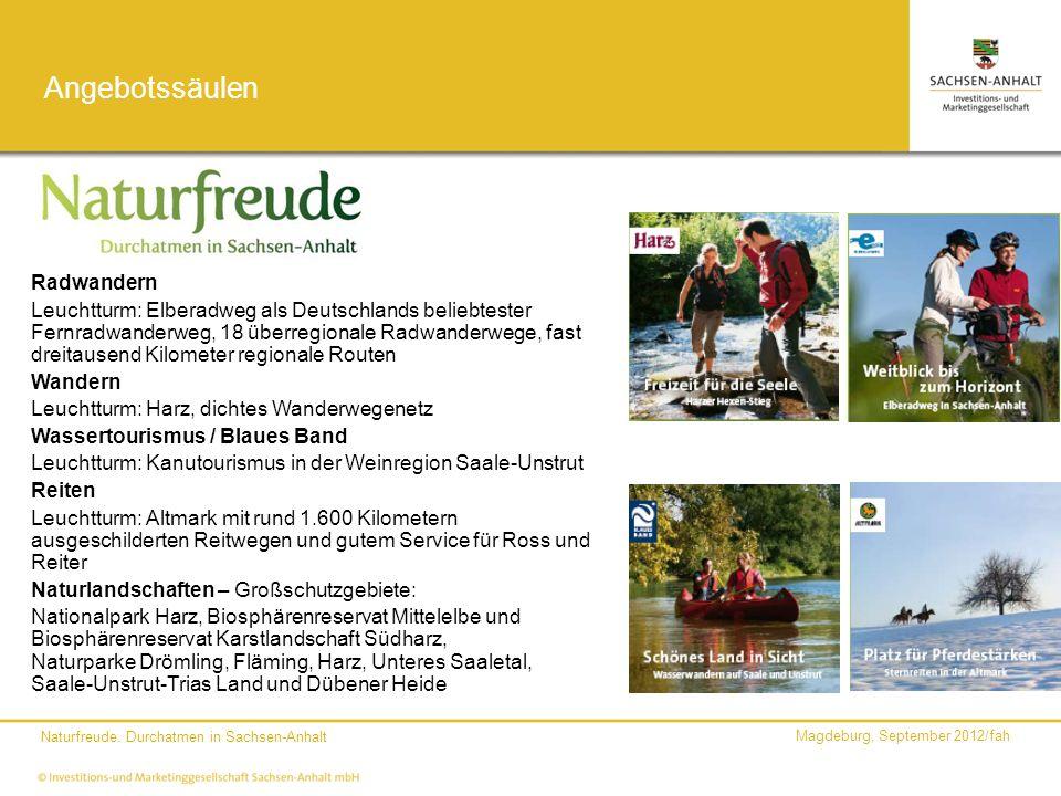 Magdeburg, September 2012/fah Naturfreude. Durchatmen in Sachsen-Anhalt Angebotssäulen Radwandern Leuchtturm: Elberadweg als Deutschlands beliebtester
