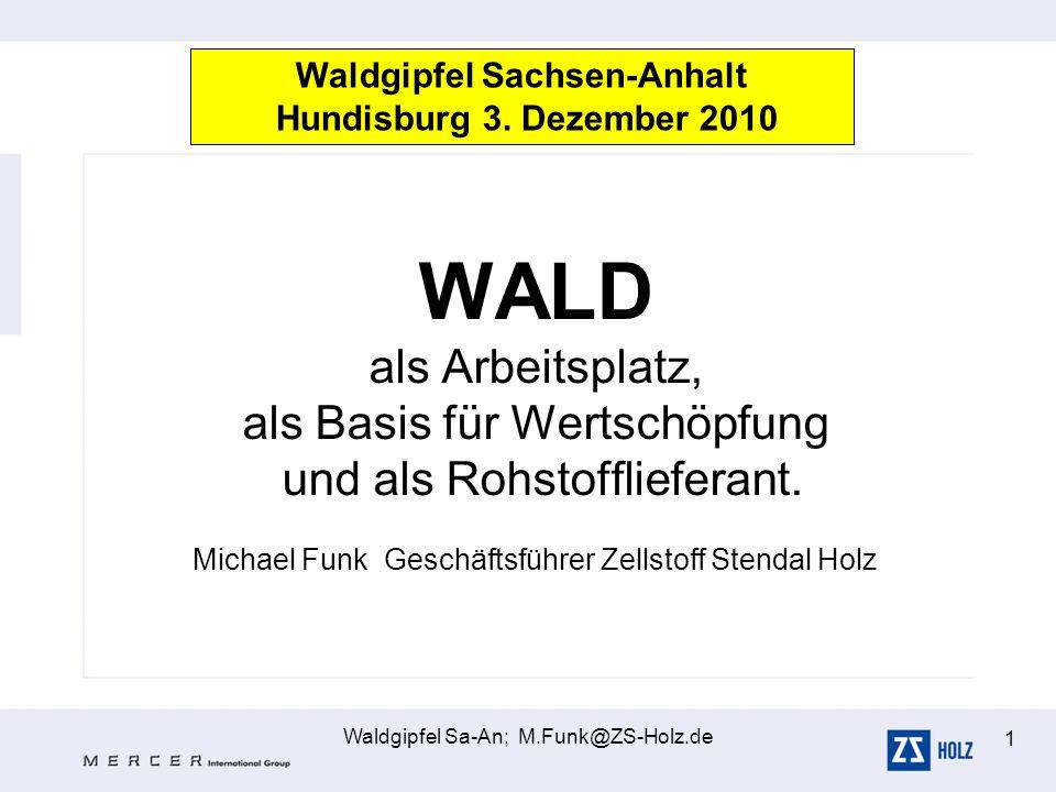 Waldgipfel Sa-An; M.Funk@ZS-Holz.de 1 WALD als Arbeitsplatz, als Basis für Wertschöpfung und als Rohstofflieferant. Michael Funk Geschäftsführer Zells
