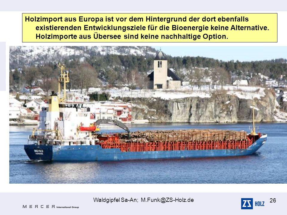 Waldgipfel Sa-An; M.Funk@ZS-Holz.de 26 Holzimport aus Europa ist vor dem Hintergrund der dort ebenfalls existierenden Entwicklungsziele für die Bioene