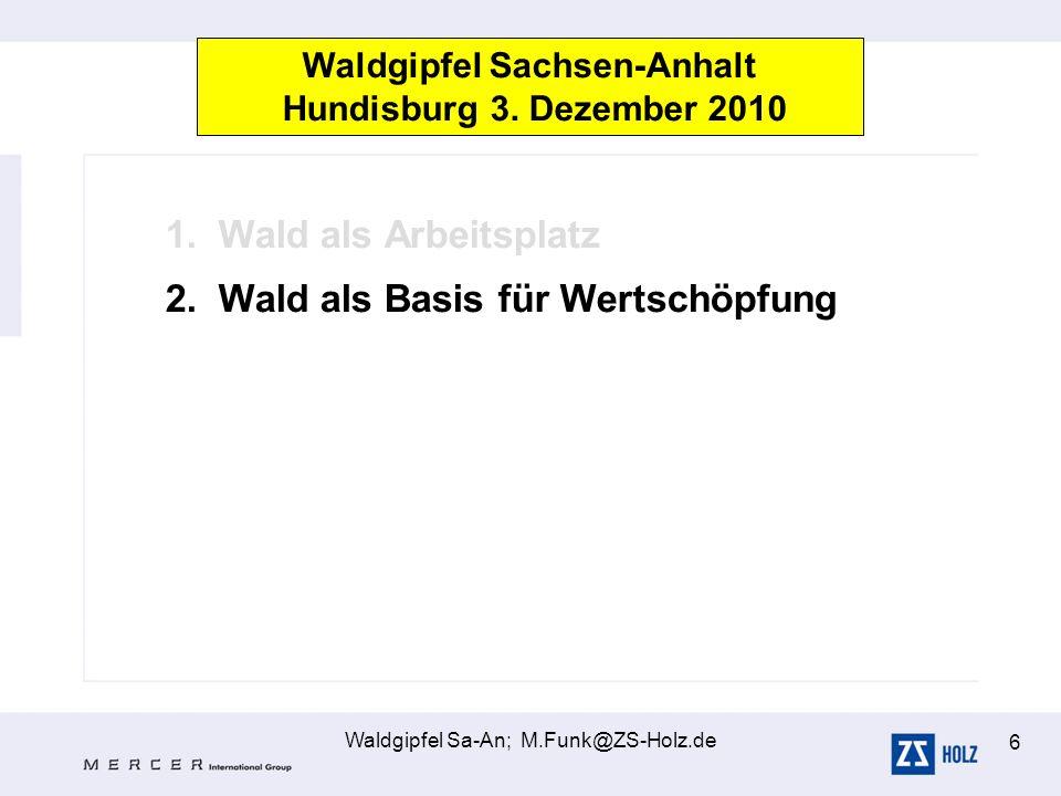 Waldgipfel Sa-An; M.Funk@ZS-Holz.de 6 1.Wald als Arbeitsplatz 2.Wald als Basis für Wertschöpfung Waldgipfel Sachsen-Anhalt Hundisburg 3. Dezember 2010