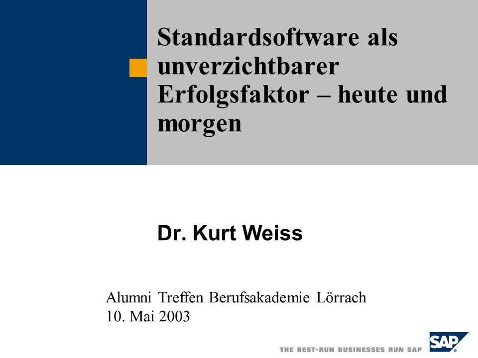 Dr. Kurt Weiss Standardsoftware als unverzichtbarer Erfolgsfaktor – heute und morgen Alumni Treffen Berufsakademie Lörrach 10. Mai 2003