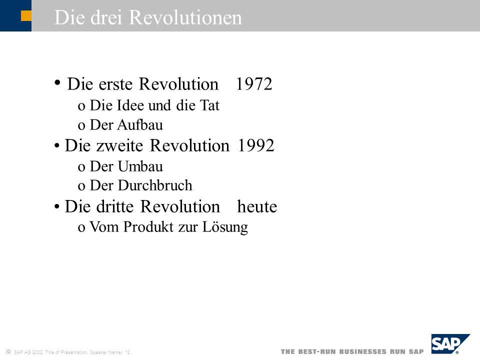 SAP AG 2002, Title of Presentation, Speaker Name / 12 Die drei Revolutionen Die erste Revolution 1972 o Die Idee und die Tat o Der Aufbau Die zweite R