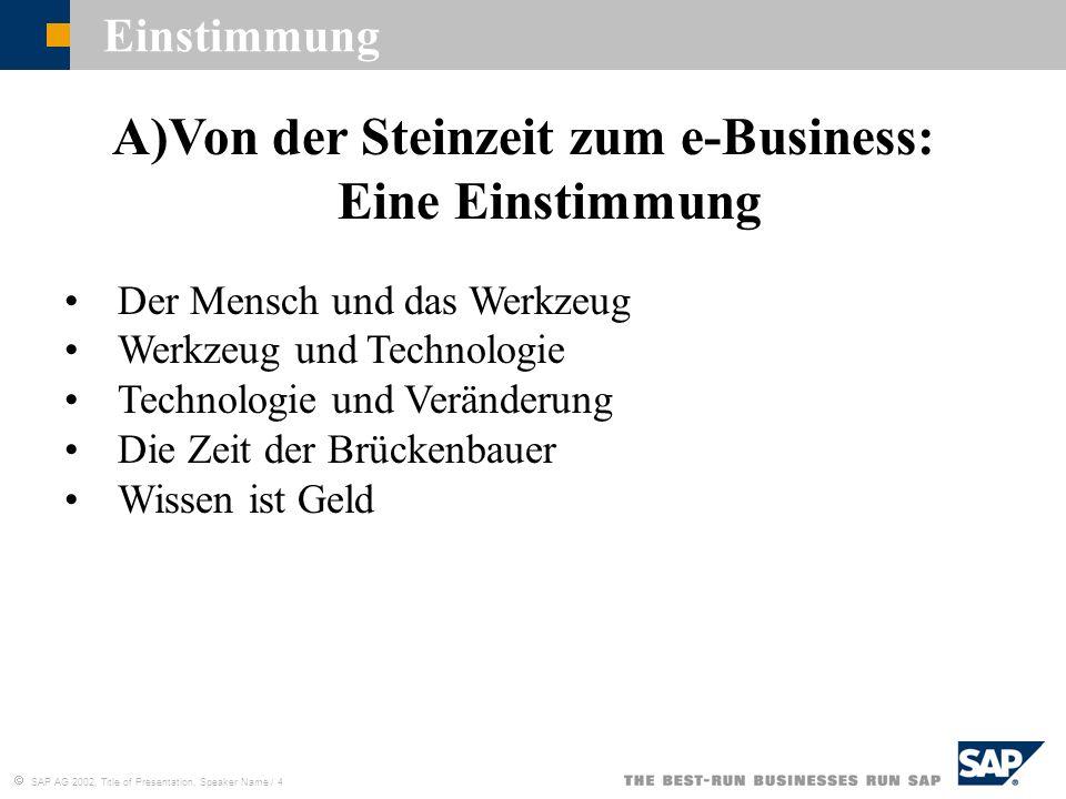 SAP AG 2002, Title of Presentation, Speaker Name / 4 A)Von der Steinzeit zum e-Business: Eine Einstimmung Der Mensch und das Werkzeug Werkzeug und Tec
