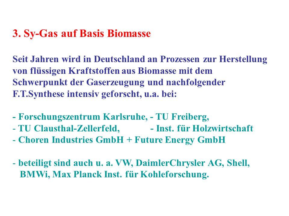 3. Sy-Gas auf Basis Biomasse Seit Jahren wird in Deutschland an Prozessen zur Herstellung von flüssigen Kraftstoffen aus Biomasse mit dem Schwerpunkt