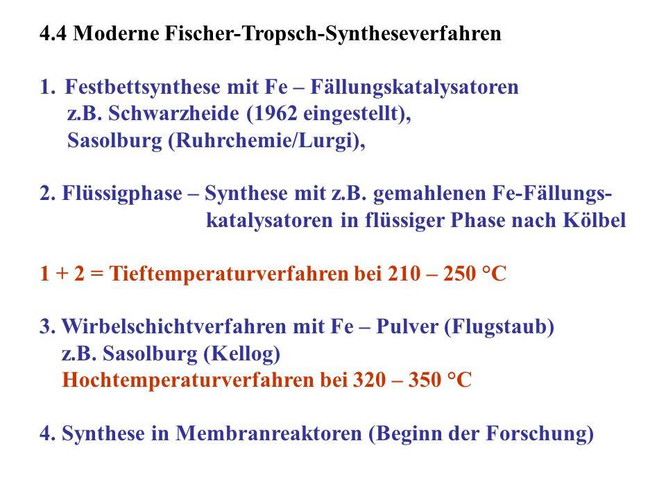 4.4 Moderne Fischer-Tropsch-Syntheseverfahren 1.Festbettsynthese mit Fe – Fällungskatalysatoren z.B. Schwarzheide (1962 eingestellt), Sasolburg (Ruhrc