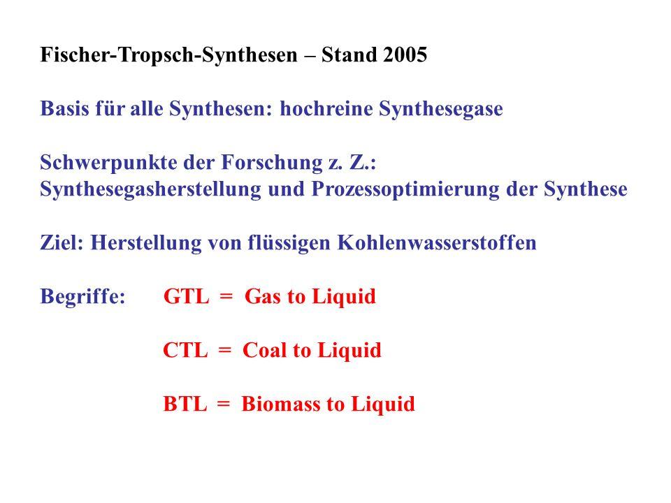 Fischer-Tropsch-Synthesen – Stand 2005 Basis für alle Synthesen: hochreine Synthesegase Schwerpunkte der Forschung z. Z.: Synthesegasherstellung und P