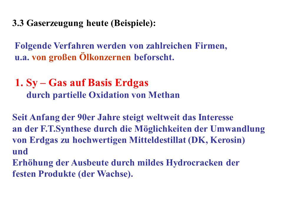 3.3 Gaserzeugung heute (Beispiele): Folgende Verfahren werden von zahlreichen Firmen, u.a. von großen Ölkonzernen beforscht. 1. Sy – Gas auf Basis Erd