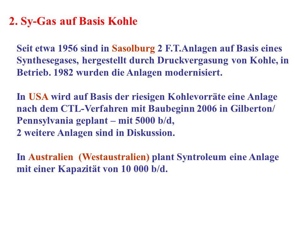 2. Sy-Gas auf Basis Kohle Seit etwa 1956 sind in Sasolburg 2 F.T.Anlagen auf Basis eines Synthesegases, hergestellt durch Druckvergasung von Kohle, in