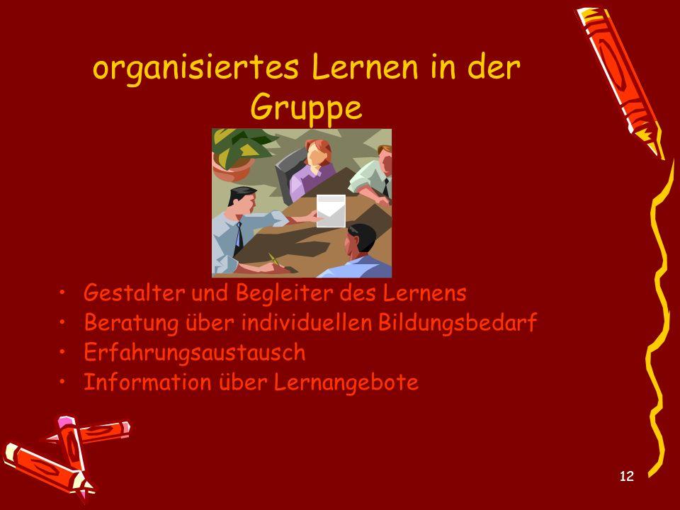 12 organisiertes Lernen in der Gruppe Gestalter und Begleiter des Lernens Beratung über individuellen Bildungsbedarf Erfahrungsaustausch Information ü