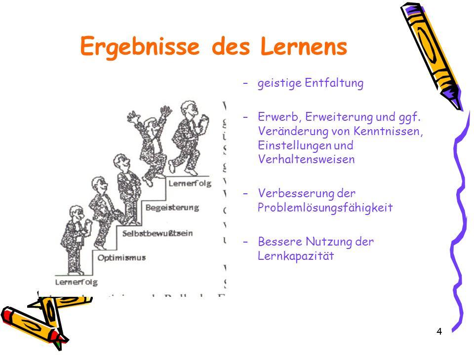 4 Ergebnisse des Lernens –geistige Entfaltung –Erwerb, Erweiterung und ggf. Veränderung von Kenntnissen, Einstellungen und Verhaltensweisen –Verbesser