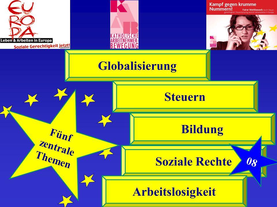 Fünf zentrale Themen Globalisierung Steuern Bildung Soziale Rechte Arbeitslosigkeit 08