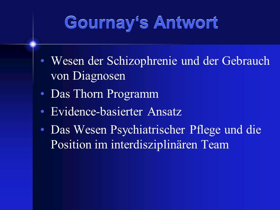 Gournays Antwort Wesen der Schizophrenie und der Gebrauch von Diagnosen Das Thorn Programm Evidence-basierter Ansatz Das Wesen Psychiatrischer Pflege