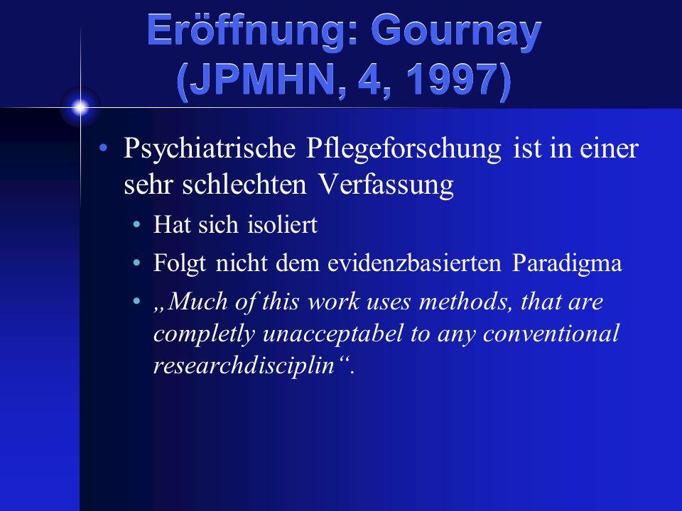 Eröffnung: Gournay (JPMHN, 4, 1997) Psychiatrische Pflegeforschung ist in einer sehr schlechten Verfassung Hat sich isoliert Folgt nicht dem evidenzba