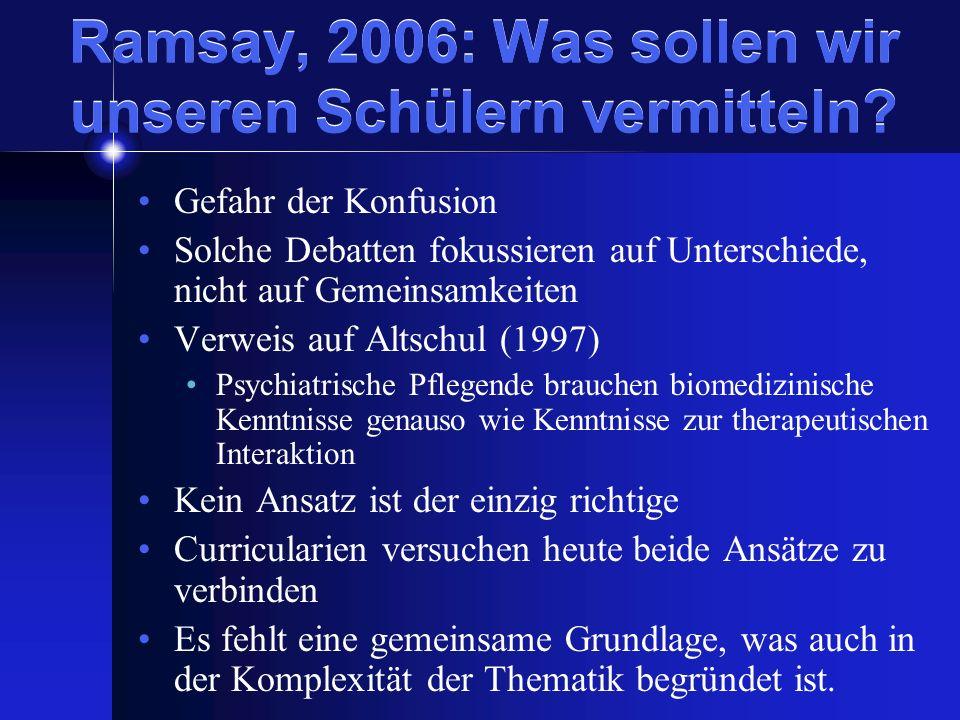 Ramsay, 2006: Was sollen wir unseren Schülern vermitteln? Gefahr der Konfusion Solche Debatten fokussieren auf Unterschiede, nicht auf Gemeinsamkeiten
